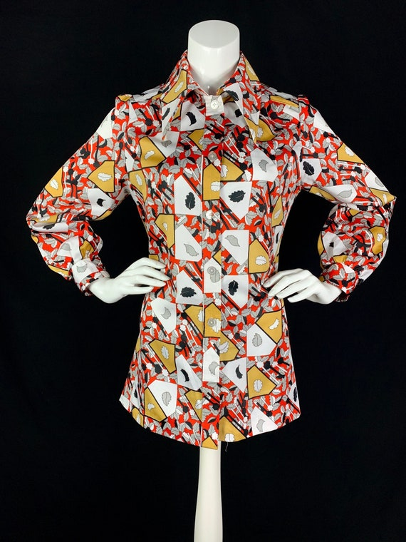 1970s Balloon Sleeve Tunic Blouse with Huge Dagger
