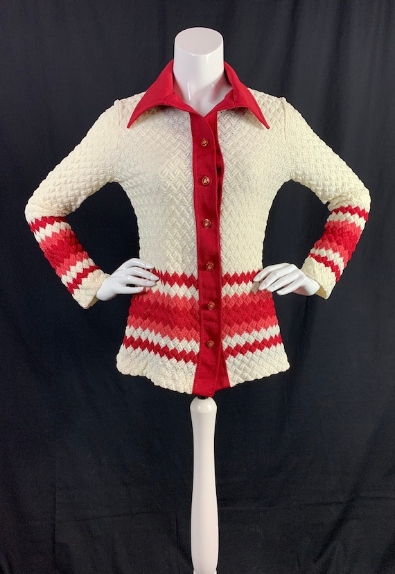 1970s Crochet Style Jacket with Dagger Collars - V