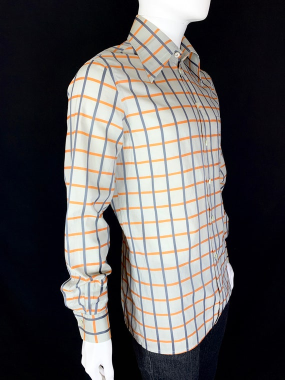 1970s Check Shirt with Huge Dagger Collars - Vinta