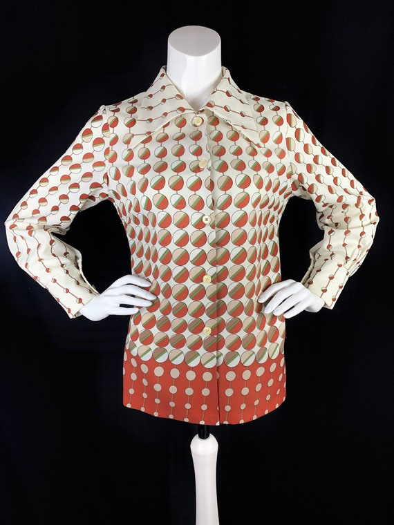 1970s Tunic Blouse with Dagger Collars & Red Circl