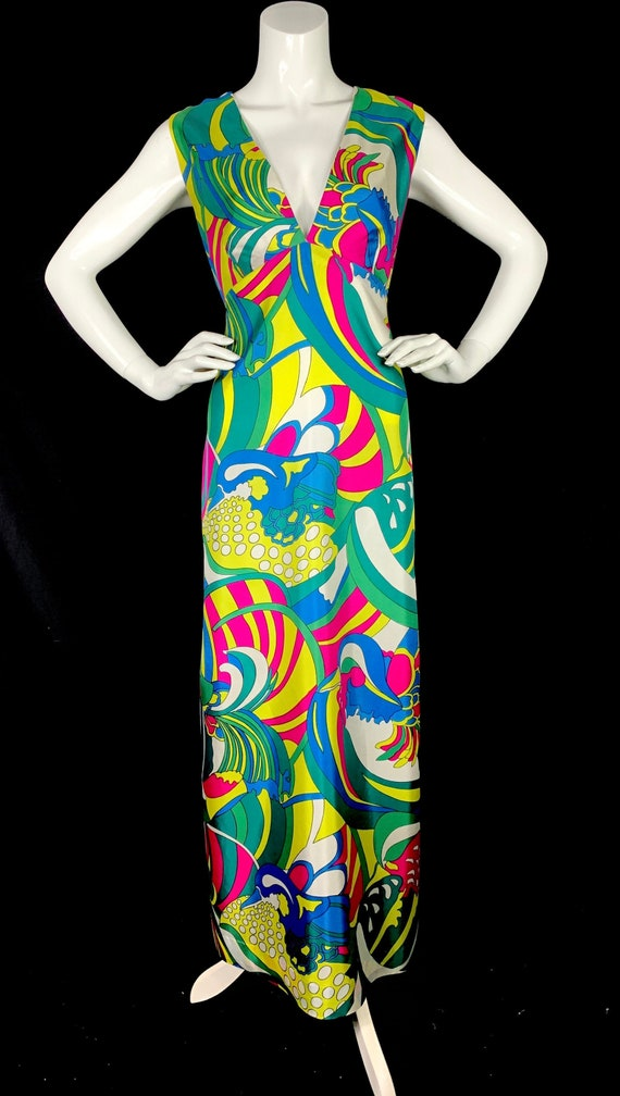 1960s Psychedelic Print Maxi Dress - Vintage 60s M