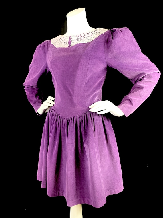 1980s LAURA ASHLEY Purple Cord Dress with Puffed S