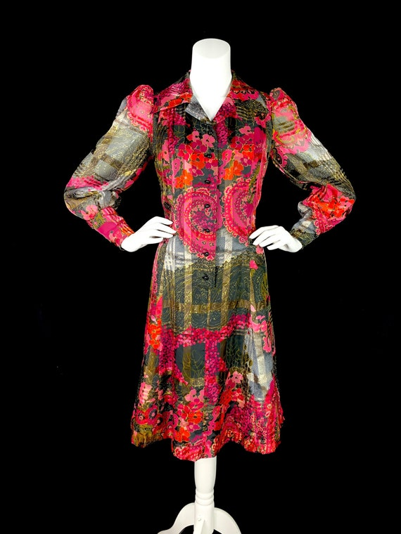 1970s Paisley Dress with Balloon Sleeves & Dagger