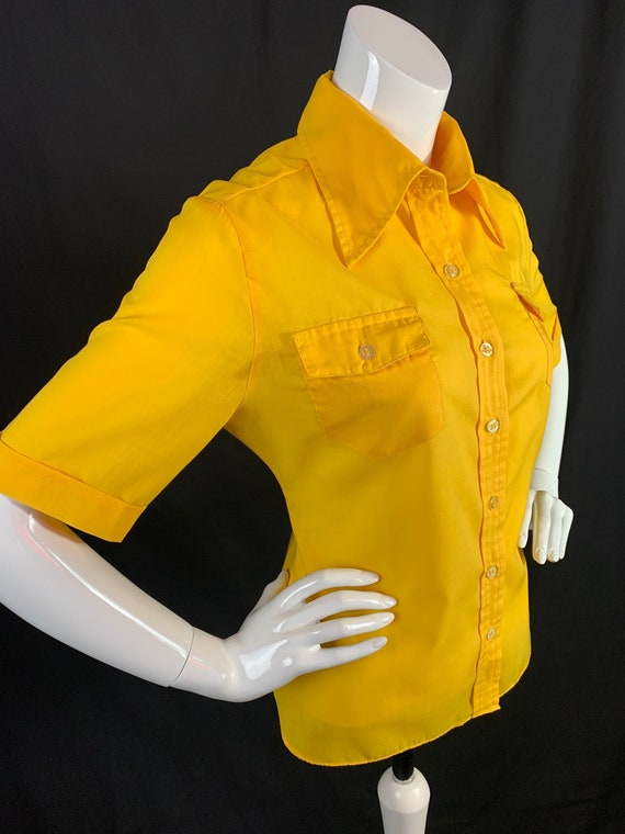 1970s Yellow Safari Style Blouse with Short Sleeve