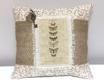 Pillow - Handmade Decorative Burlap Stenciled Pillow - Butterfly Pillow