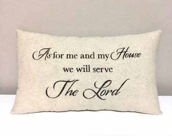 Handmade Pillow - Farmhouse - Religious Pillow - Stenciled Accent Home Decor Pillow