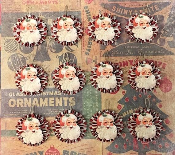 Vintage Style Christmas Ornaments.Twelve 12 Vintage Style Christmas Ornaments Santa Paper Ornaments Vintage Style Santa