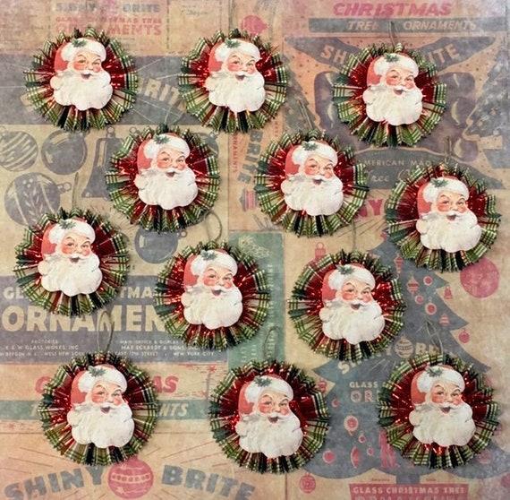Vintage Style Christmas Ornaments.Twelve 12 Vintage Style Christmas Ornaments Santa Paper Ornaments Red Tinsel Vintage Santa