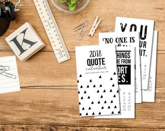 ON SALE!!! 2018 Quote Mini Calendar, business card calendar, calendar, desk calendar, 12 month calendar, color calendar, art calendar