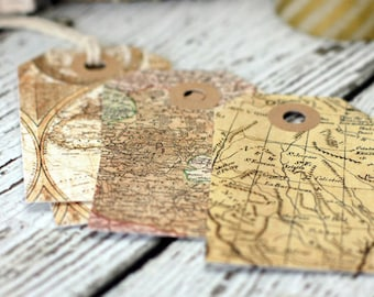 Set of 12 vintage map tags, gift tags, paper goods, maps, packaging, tags, travel, map tags, travel tags, vintage maps, explore