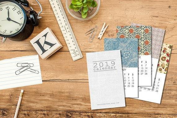2019 Mini Calendar Business Card Calendar Calendar Desk Etsy