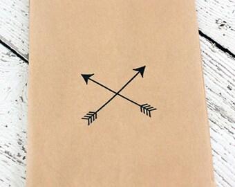 Hand stamped kraft bags, arrows, 5x7 kraft bags, favor bags, arrow, tribal, camping, stamp, gift bags