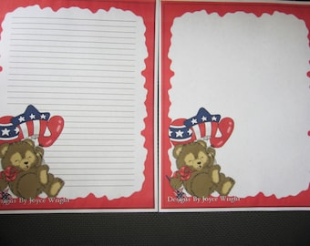 4th of July Bear with Balloons Stationery