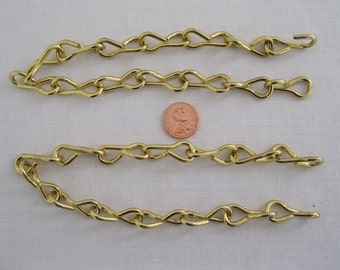 2 - 1 Foot pieces of 10 Ga. Brass on steel chain for hanging  STAINED GLASS SUNCATCHERS.