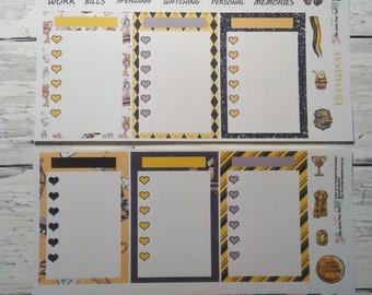 Hufflepuff monatlich stellt eine Seite Planner Sticker Kit