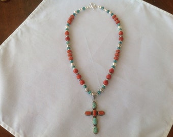 Sterling silver cross with turquoise and coral inlay