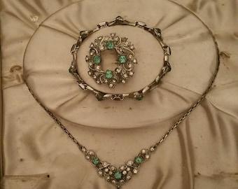 Vintage European Set. Necklace, Bracelet & Brooch.