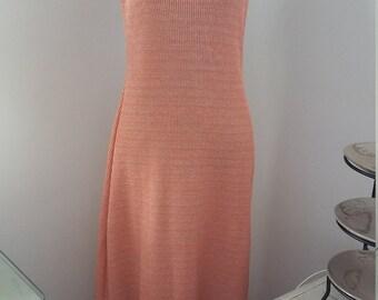 Peach Metalic Knit Maxi Dress Size 12