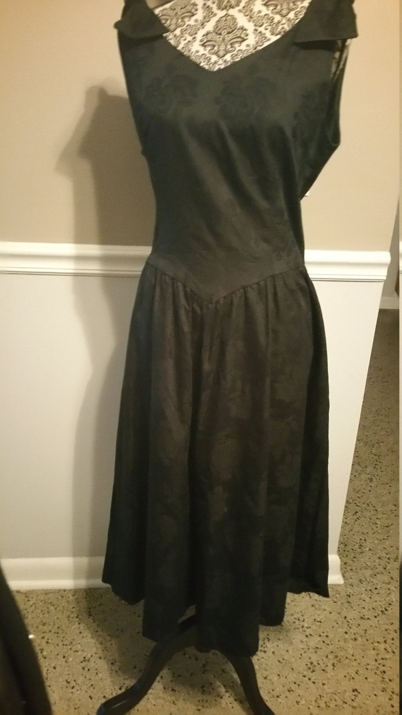 2c214a29201 Petite Lanz Cocktail Dress. LBD Size 14. Rose embossed Cotton