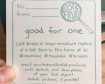 Gift Card: Custom Miniature Replica Of Lost Item