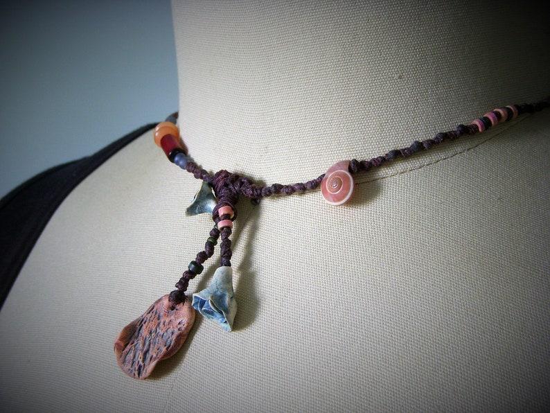 N646 Rustic Necklace Blue Flowers Flower Necklace Hippie Primitive Necklace