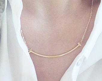 90e83bac000ed Smile Necklace 18K Gold Charm Necklace Simple Pendant Necklace Everyday  Jewelry Elegant Dainty Necklace Happy Life Birthday Friends Gift
