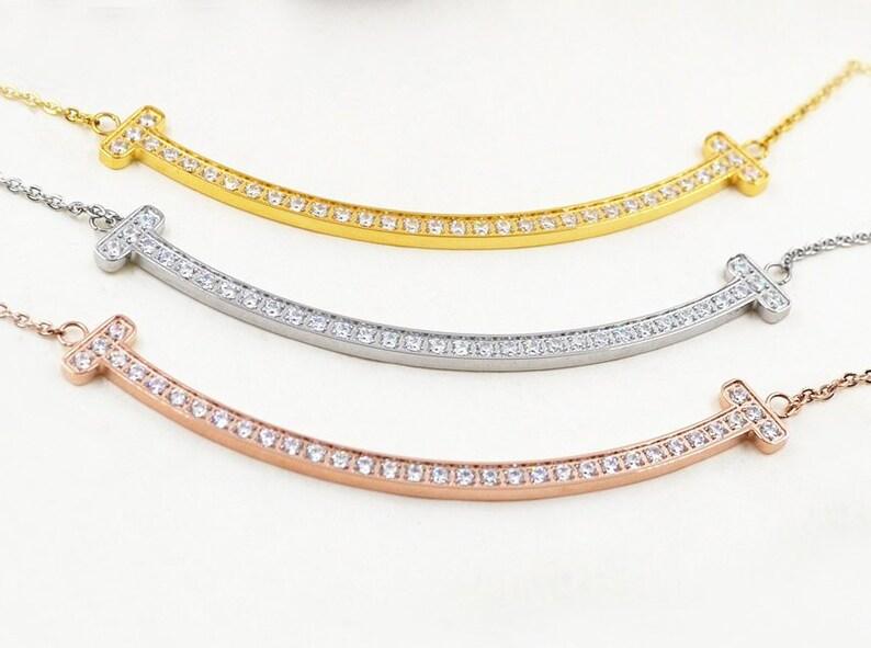 4f91d5fe62900 Smile T Letter Diamond Necklace 18K Gold White Gold Rose Gold