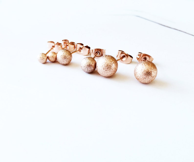 a63716441 Matte Sphere Stud Earring 18K Rose Gold Frosted Stud Earring | Etsy