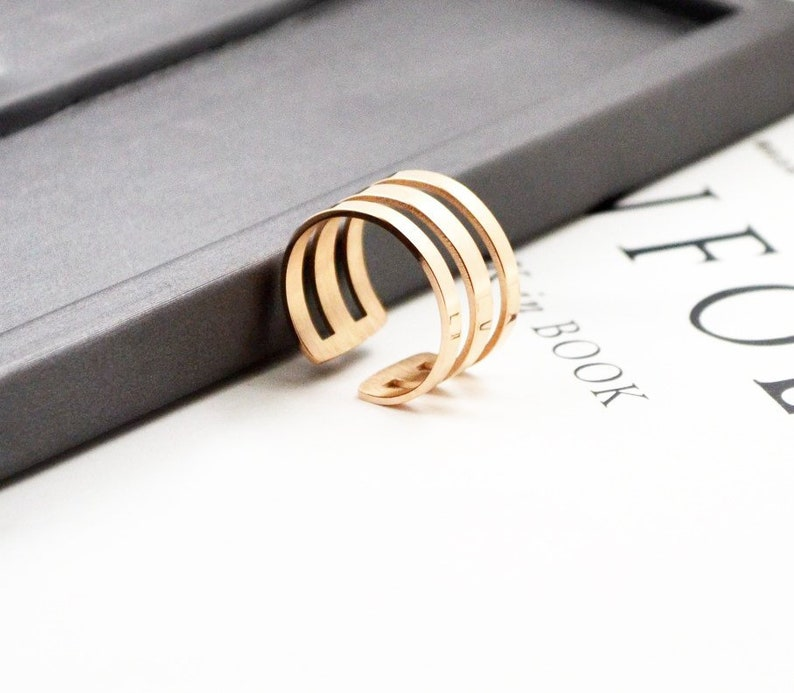Layer Ring 18K Rose Gold White Gold Layer Stack Ring Knuckle Open Adjustable Multifinger  Simple Dainty Everyday Birthday Sister Mom Gift