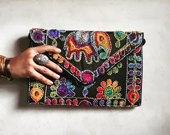 Embroidered purse, Over-sized clutch, Banjara bag, Elephant bag, Ethnic clutch,  Tribal bag, Indian bag, Boho clutch, Gypsy purse, Sling bag