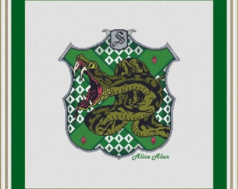 Unicorn Medieval Heraldry Shield Crest Coat of Arms Counted Cross Stitch Pattern