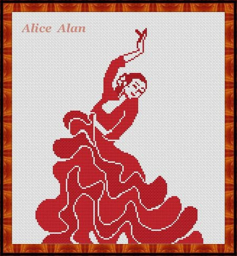 Cross Stitch Pattern Silhouette dancer flamenco Counted Cross Stitch Pattern Instant Download Epattern PDF File monochrome design
