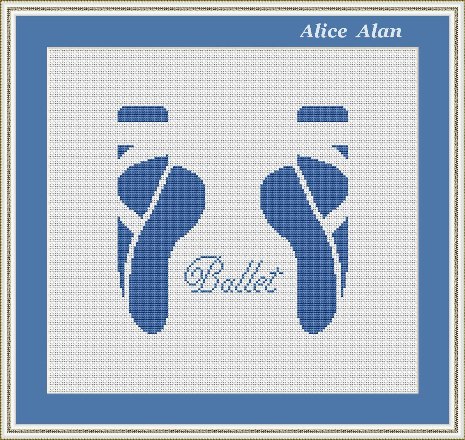 cross stitch pattern dance ballet ballerina vintage blue shoes pointe counted cross stitch pattern/instant download epattern pdf