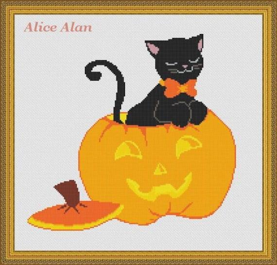 Black Cat,Cross Stitch Pattern Holidays Halloween Blue Witch