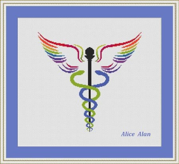 Cross Stitch Pattern Medical Symbol Silhouette Two Snakes Etsy