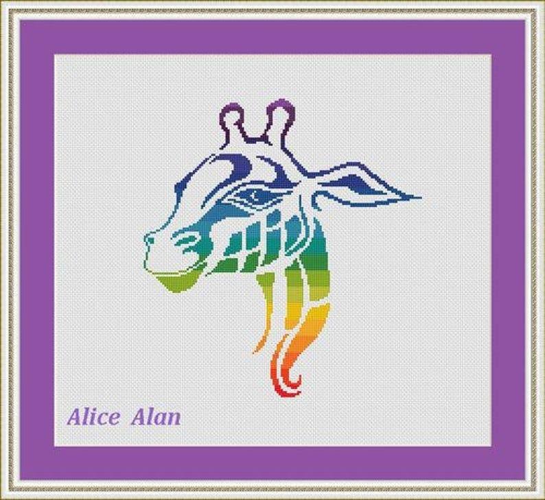 Cross Stitch Pattern Animal Silhouette Giraffe rainbow monochrome fantasy Counted Cross Stitch PatternInstant Download Epattern PDF File
