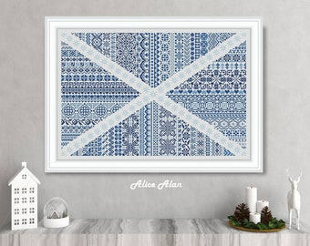 Cross stitch pattern national flag Scotland ornament saltire country sampler crossstitch counted crossstitch patterns/Instant Download PDF