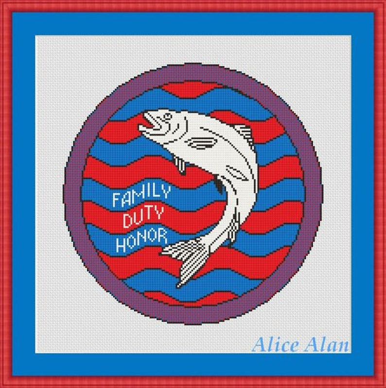 Cross Stitch Pattern Fish Emblem trout House Tully Game of Thrones Coat arms Counted Cross Stitch PatternInstant Download Epattern PDF File