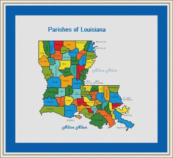 Cross Stitch Pattern Map Parishes State Louisiana Usa United Etsy