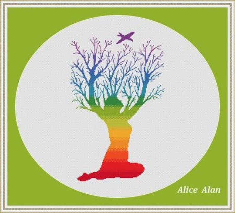 Cross Stitch Pattern Tree Woman bird ornament rainbow Silhouette monochrome Counted Cross Stitch PatternInstant Download Epattern PDF File