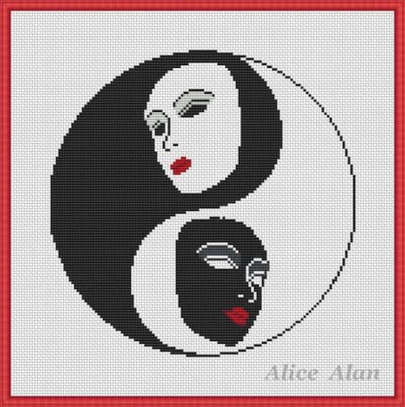 Cross Stitch Pattern Art Masks Yin Yang mask black white silhouette Counted Cross Stitch Pattern  Instant Download Epattern PDF File