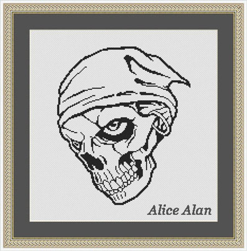 Cross Stitch Pattern Silhouette skull pirate black monochrome Halloween Counted Cross Stitch PatternInstant Download Epattern PDF File