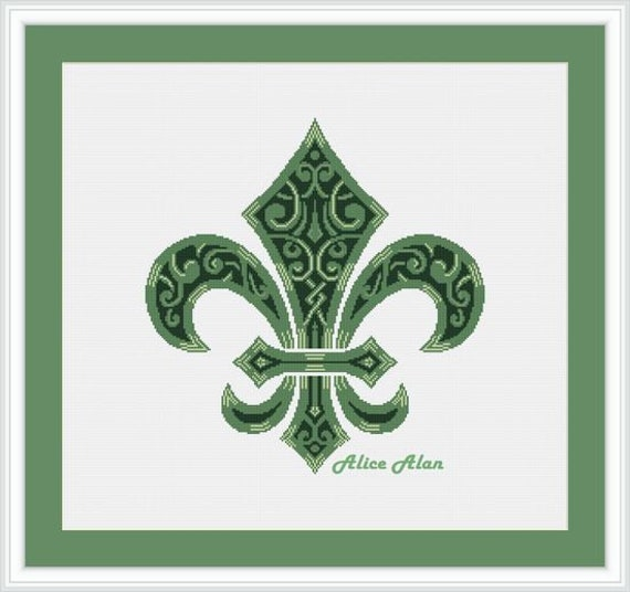 Free US Shipping Counted Cross Stitch Pattern New Orleans Saints Logo
