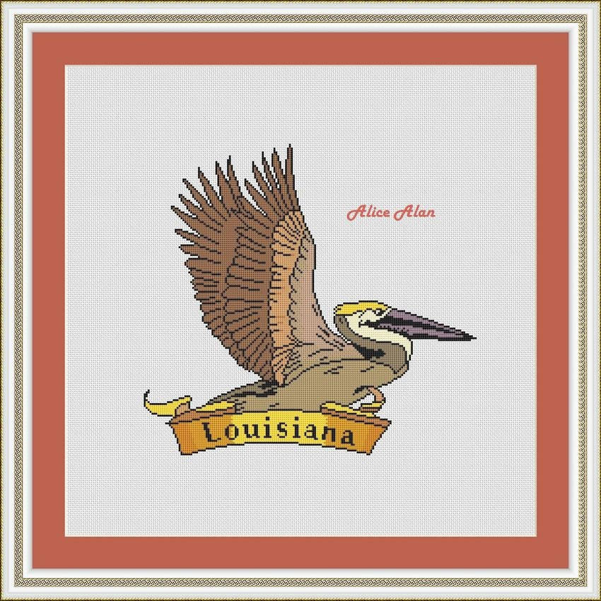 Brown Pelican By Scarlet Quince Counted Cross Stitch PATTERN ONLY Animals Nature Birds AUD006