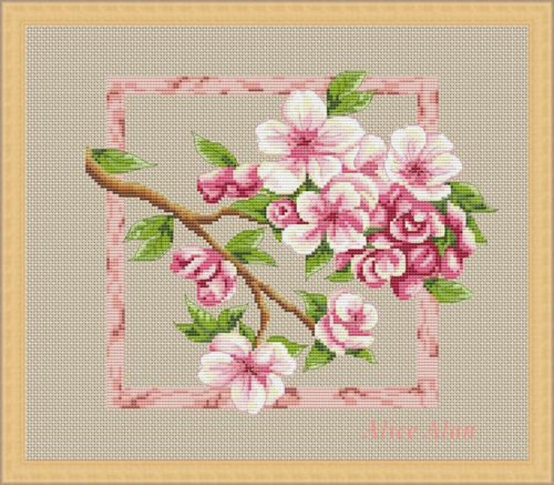 Counted Cross Stitch Pattern Embroidery Chart PDF  Napkin with apple blossoms