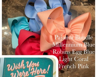 4 Bow Bundle to match April Wish You Were Here by Matilda Jane- 9 different sizes/ styles available