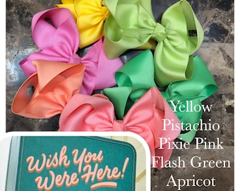 6 Bow Bundle to match April Wish you Were Here by Matilda Jane- 9 different sizes/ styles available