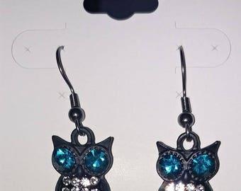 Black Rhinestone Owl Earrings