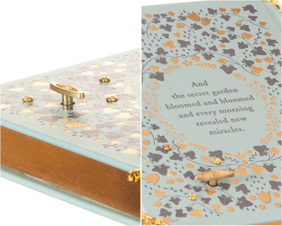 Leather-bound Hollow Book Music Box Magnetic Closure The Secret Garden