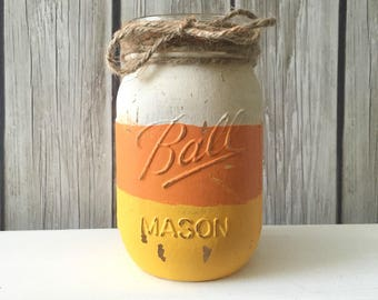 DIY Kit - Create your own Candy Corn Halloween Mason Jar - Ball Jar - Candy Corn Jar - DIY Kit - Create Your Own - Craft Kit - Fall Craft